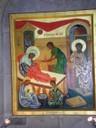 Icône de l'église Ste Anne<br />Icône représentant la naissance de Marie avec ses parents Anne et Joachim ,  Dans cette très belle église de pur style roman à Jérusalem.