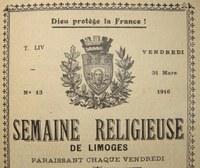 IL Y A CENT ANS : LE DIOCÈSE DE LIMOGES VU À TRAVERS LE MAGAZINE DIOCÉSAIN « SEMAINE DE LIMOGES »